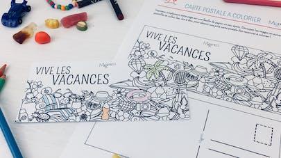 Carte postale de vacances à colorier