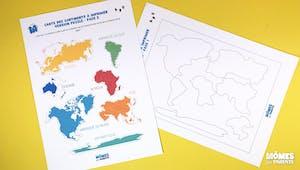 Carte puzzle des continents