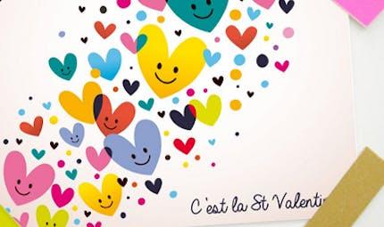 Carte Saint Valentin : les coeurs multicolores