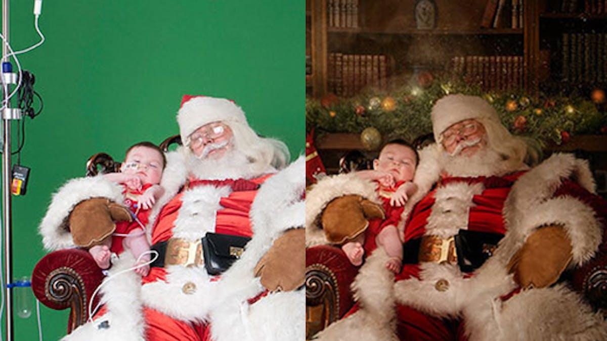 Père Noël enfants malades photos magie