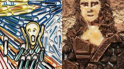 adam hillman tableaux célèbres avec objets du       quotidien