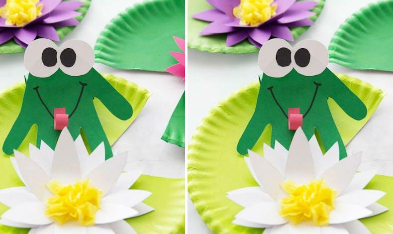 Collage : la grenouille sur son nénuphar