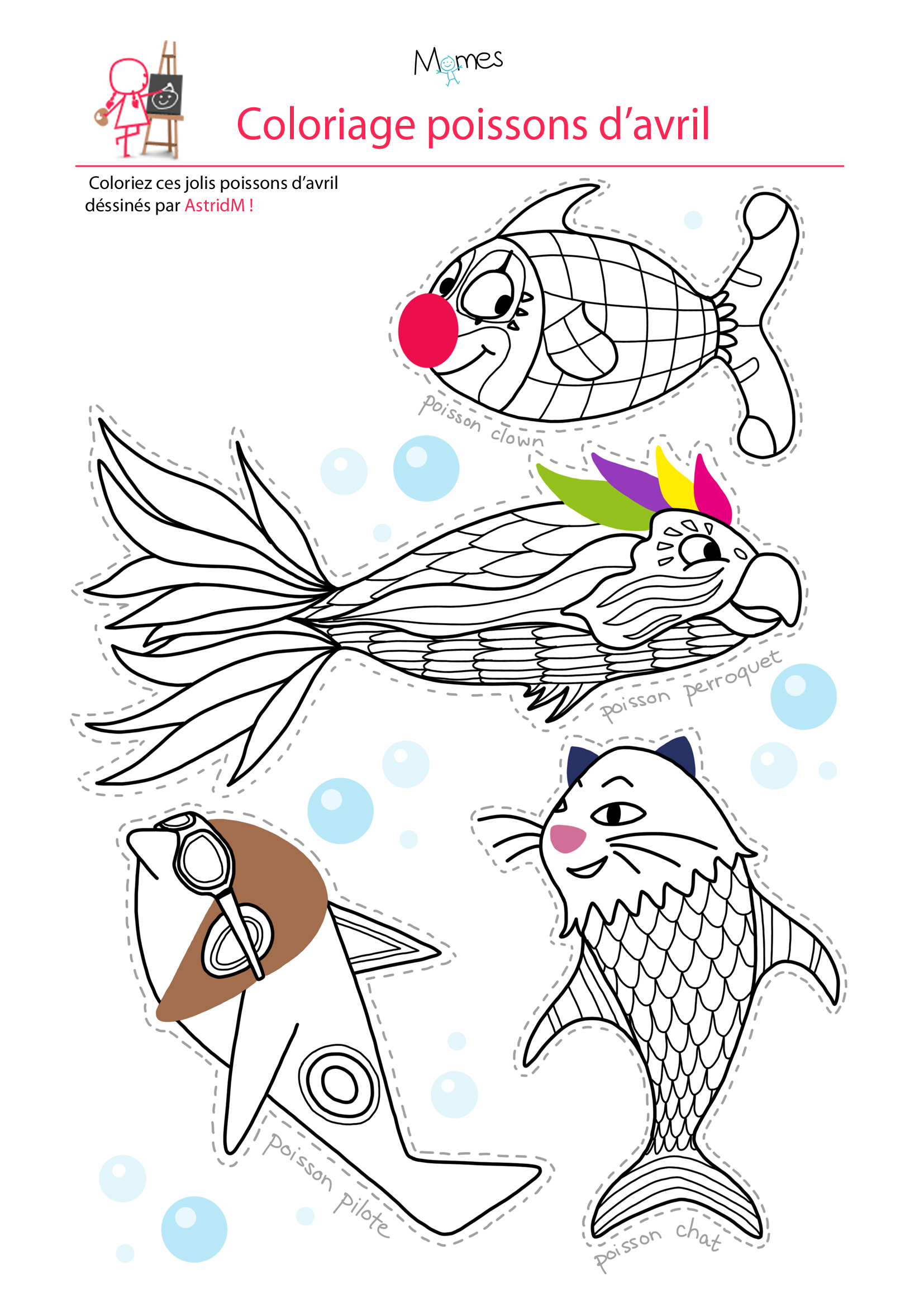 Coloriage 4 Poissons D Avril Momes Net