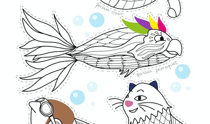 Coloriage 4 poissons d'avril