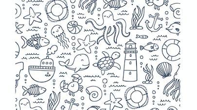 Coloriage anti-stress la mer