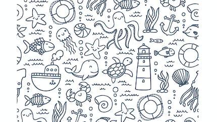 Coloriage : à la mer
