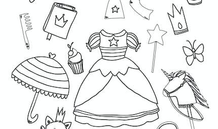 Coloriage Accessoires de princesse