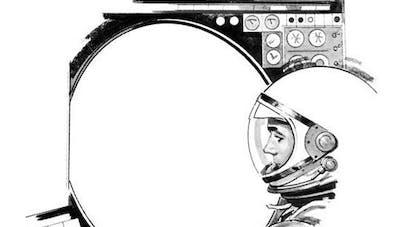 Coloriage astronaute dans la navette spatiale