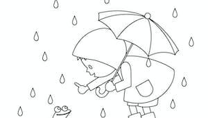 Coloriage Automne : il pleut, il mouille !