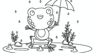 Coloriage automne : la grenouille