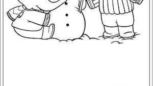 Coloriage Babar: le bonhomme de neige
