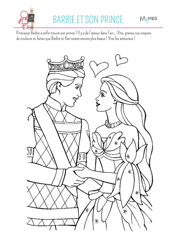Coloriage Barbie Et Son Prince Momes Net