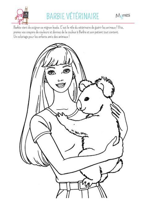 Coloriage Barbie Veterinaire Momes Net