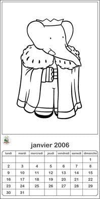 Coloriage calendrier chats 2006: janvier-juin