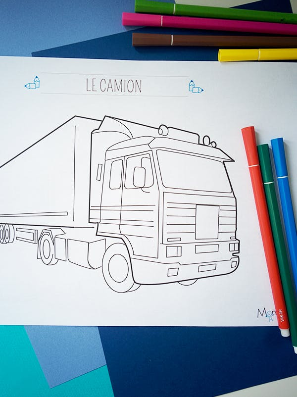 Coloriage camion (3) | MOMES.net