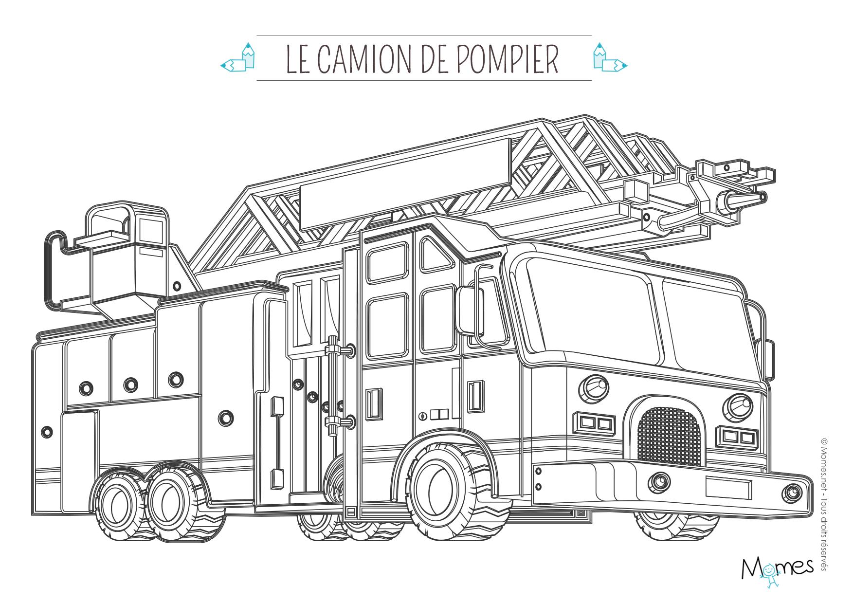 Coloriage camion de pompier avec la grande échelle | MOMES.net
