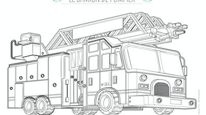 coloriage gros camion de pompier