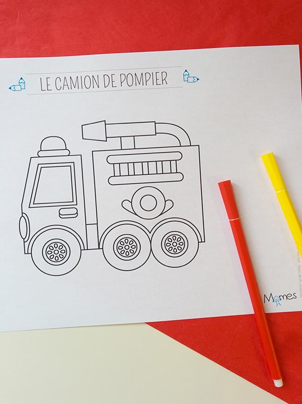 Coloriage Le camion de pompier | MOMES.net