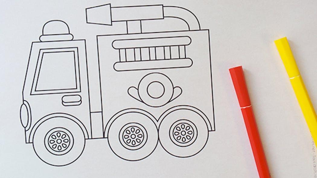 Coloriage Le camion de pompier