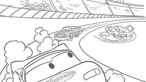 Coloriage Cars : au milieu de la course