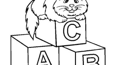 Coloriage chat assis sur des lettres