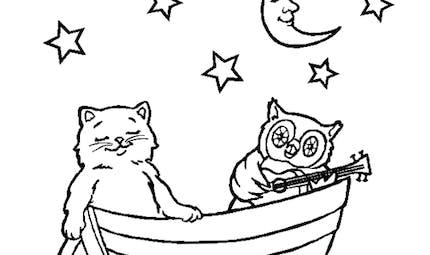 Coloriage chat et chouette au clair de lune