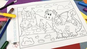 Coloriage Château et Dragon