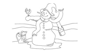Coloriage chien et bonhomme de neige