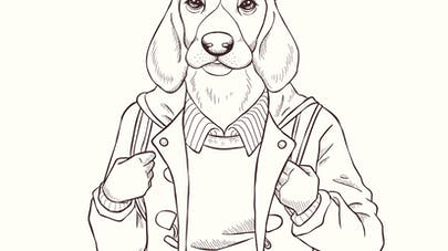 Coloriage chien hipster
