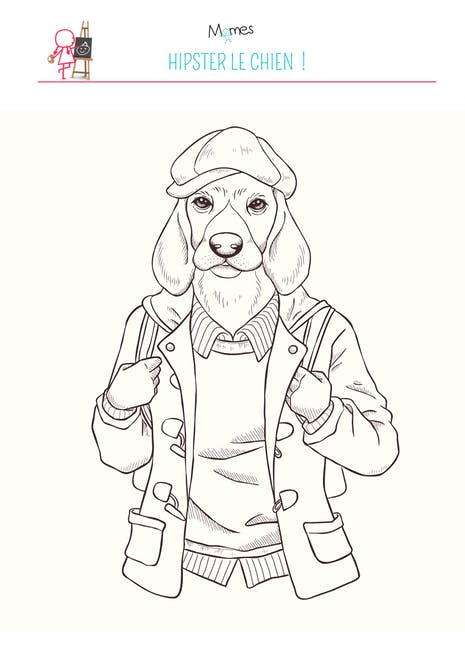 Coloriage Chien Hipster Momes Net