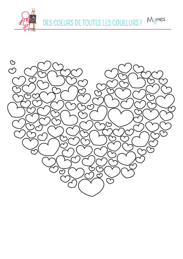 Coloriage Coeurs De Toutes Les Couleurs Momes Net