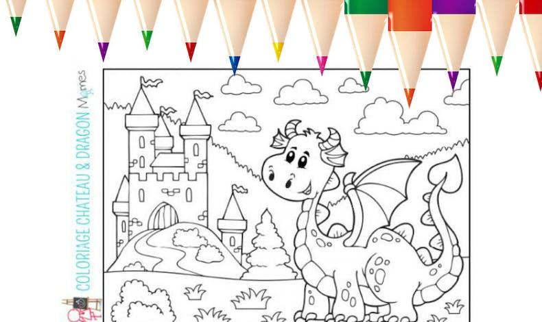 Coloriage : château et dragon