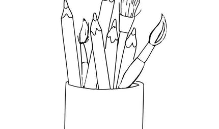 Crayons et pinceaux