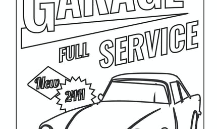 coloriage d'un garage service pour voiture