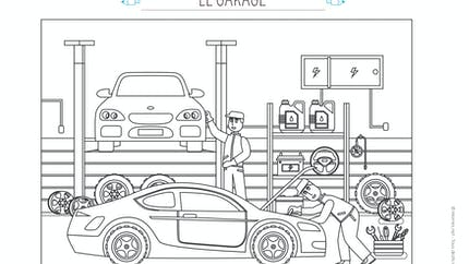 Coloriage Le garage automobile