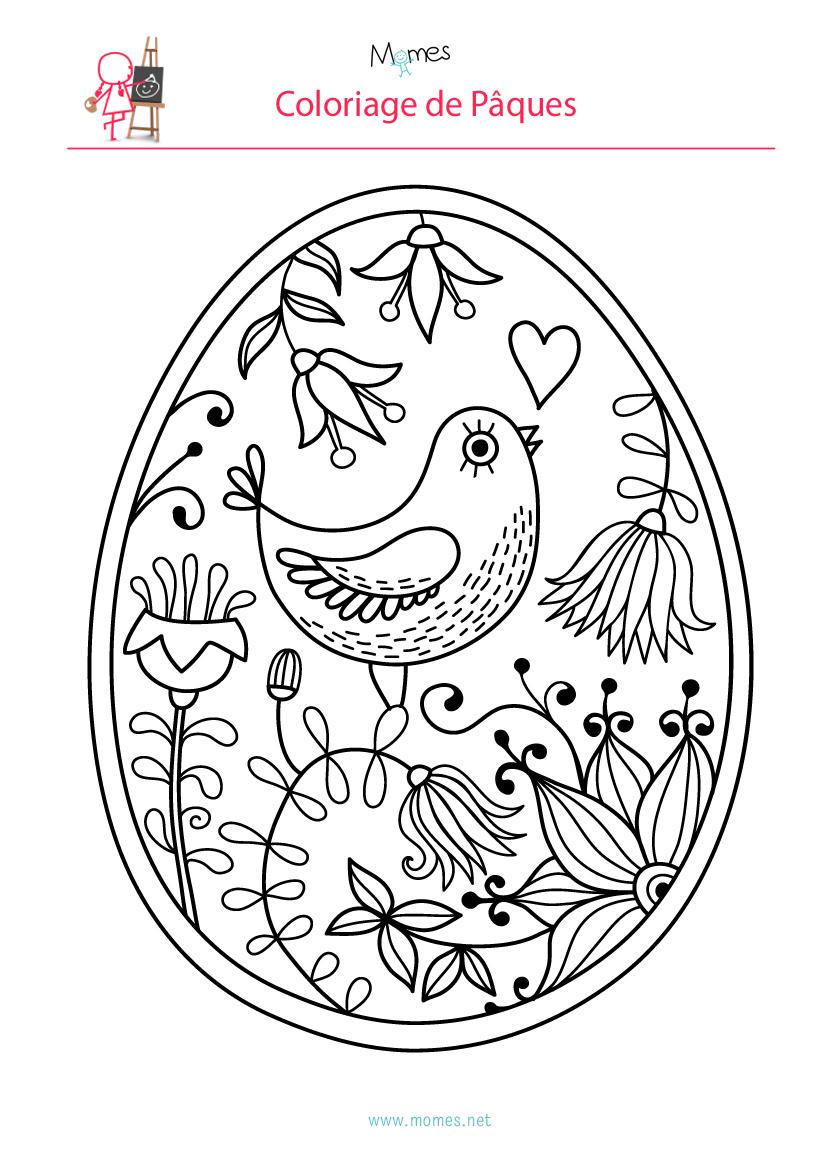 Coloriage de l'oeuf de Pâques à l'oiseau | MOMES.net