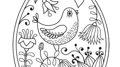 coloriage oeuf de paques oiseau