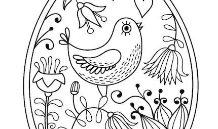Coloriage de l'oeuf de Pâques à l'oiseau