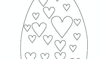 Coloriage de l'œuf de Pâques avec des cœurs