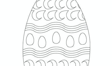Coloriage de l'œuf de Pâques avec une frise