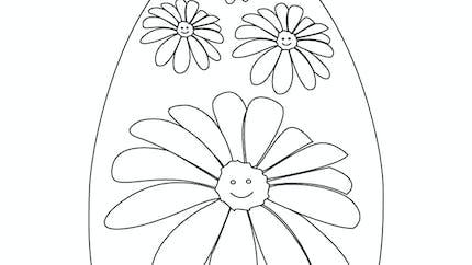 Coloriage de l'œuf de Pâques fleuri