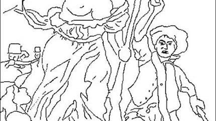 Coloriage de la Liberté guidant le peuple (Eugène Delacroix)