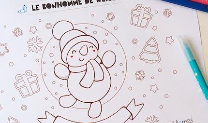 Coloriage de Noël : le bonhomme de neige