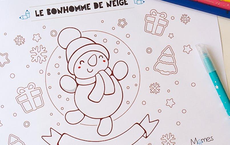 coloriage noel bonhomme de neige