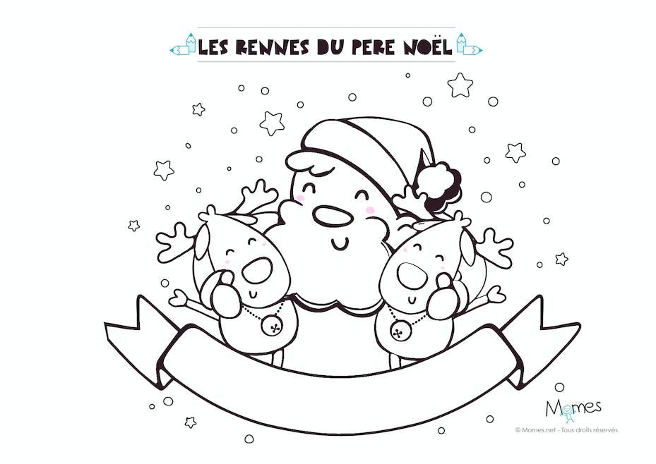 Coloriage de Noël : le Père Noël et ses rennes