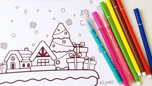 Coloriage de Noël : le village