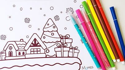 village de noel à colorier