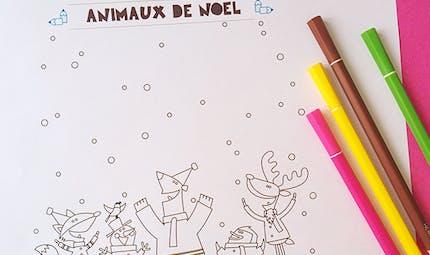 Coloriage de Noël : les animaux