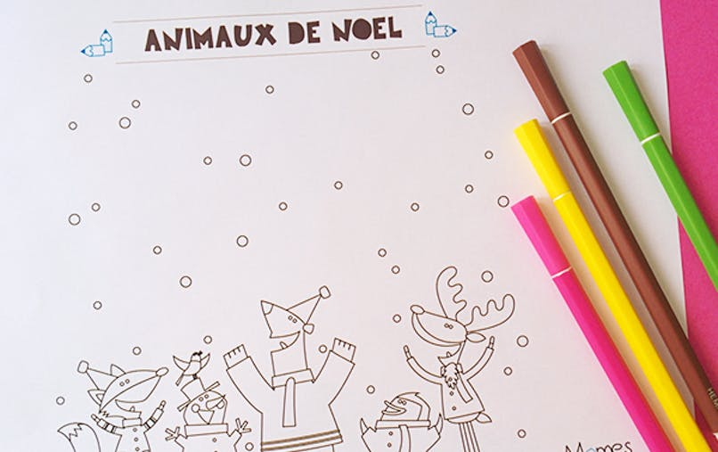 coloriage animaux noel