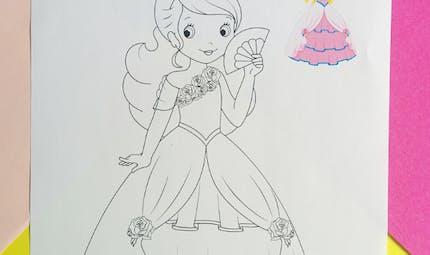 Coloriage de princesse avec modèle